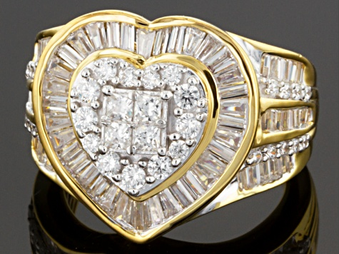 Cubic Zirconia 18k Yellow Gold Over Silver Heart Ring 3.75ctw (2.79ctw DEW)