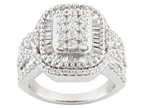 Cubic Zirconia Rhodium Over Sterling Silver Ring 3.55ctw (2.11ctw DEW)