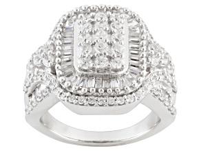 Cubic Zirconia Silver Ring 3.55ctw (2.11ctw DEW)