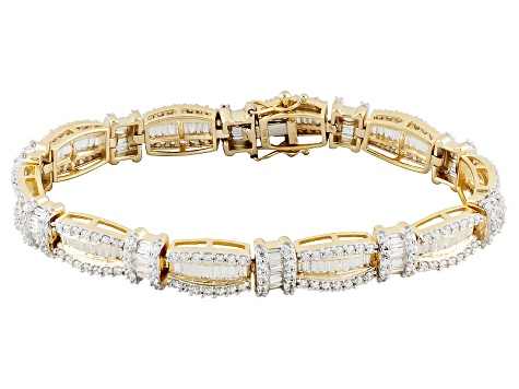 Cubic Zirconia 18k Yellow Gold Over Silver Bracelet