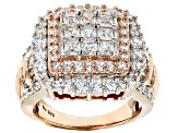 Cubic Zirconia 18k Rose Gold Over Silver Ring 4.95ctw (3.51ctw DEW)