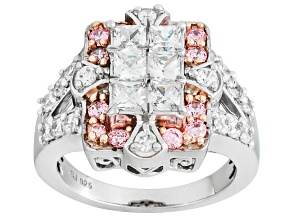 White And Pink Cubic Zirconia Silver Ring 3.06ctw (1.92ctw DEW)