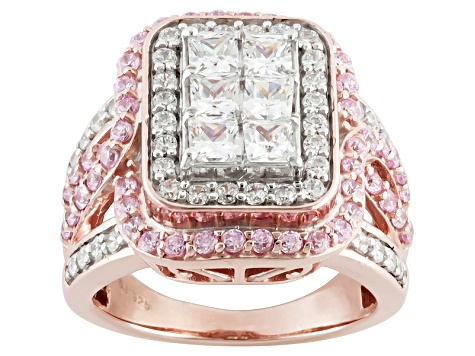 White And Pink Cubic Zirconia 18k Rose Gold Over Silver Ring 3.90ctw (2.40ctw DEW)