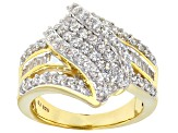 Cubic Zirconia 18k Yellow Gold Over Silver Ring 2.60ctw (1.68ctw DEW)