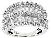Cubic Zirconia Rhodium Over Sterling Silver Ring 6.90ctw (3.06ctw DEW)