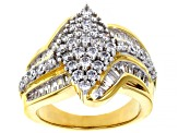 Cubic Zirconia 18K Yellow Gold Over Sterling Silver Ring 3.60ctw (2.05ctw DEW)