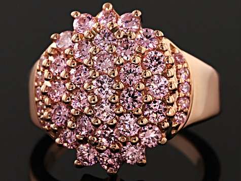 Pink Cubic Zirconia 18k Rose Gold Over Silver Ring 3.75ctw (1.89ctw DEW)