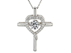 Cubic Zirconia Rhodium Over Sterling Silver Dancing Bella Pendant With Chain 1.70ctw
