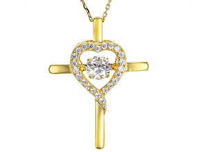 Cubic Zirconia 18K Yellow Gold Over Silver Dancing Bella Pendant With Chain 1.70ctw