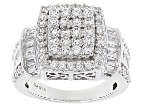 Cubic Zirconia Rhodium Over Sterling Silver Ring 4.05ctw (2.43ctw DEW)