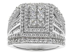 Cubic Zirconia Silver Ring 4.05ctw (2.26ctw DEW)