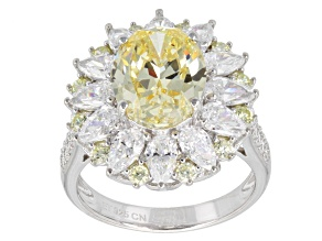 Yellow And White Cubic Zirconia Silver Ring 11.60ctw (6.91ctw DEW)