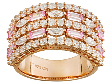 Pink And White Cubic Zirconia 18k Rose Gold Over Silver Ring 3.28ctw (2.04ctw DEW)