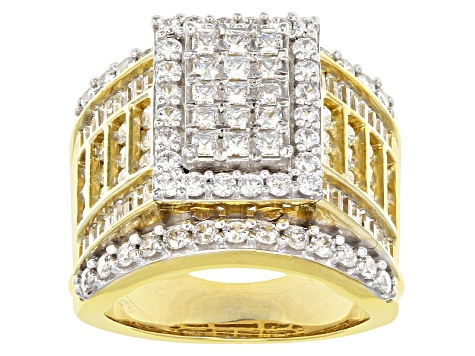 Cubic Zirconia 18k Yellow Gold Over Silver Ring 5.30ctw (4.25ctw DEW)