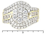 Cubic Zirconia 18k Yellow Gold Over Silver Ring 3.36ctw (2.14ctw DEW)