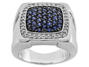 Blue And White Cubic Zirconia Silver Gents Ring 1.75ctw (.69ctw DEW)