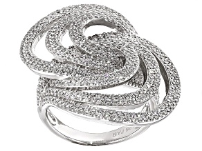 Cubic Zirconia Silver Ring 3.84ctw (2.25ctw DEW)