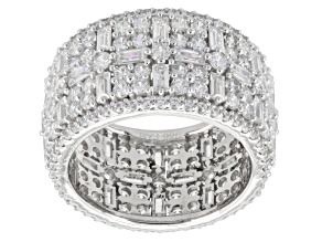Cubic Zirconia Silver Band 8.62ctw (5.09ctw DEW)