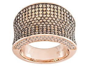 Brown And White Cubic Zirconia 18k Rose Gold Over Silver Ring 4.17ctw (1.87ctw DEW)