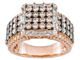 Champagne And White Cubic Zirconia 18k Rose Gold Over Silver Ring 4.22ctw(2.27ctw DEW)