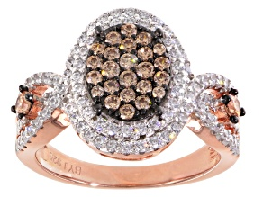 Brown And White Cubic Zirconia 18k Rose Gold Over Silver Ring 1.95ctw (1.05ctw DEW)