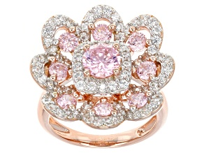 Pink And White Cubic Zirconia 18k Rose Gold Over Sterling Silver Ring 5.28ctw