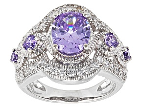 Purple And White Cubic Zirconia Rhodium Over Sterling Silver Ring 4.39ctw