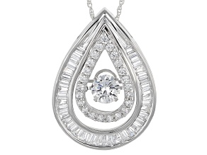 Cubic Zirconia Silver Pendant With Chain 3.55ctw (2.06ctw