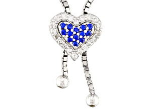 Blue And White Cubic Zirconia Silver Sliding Adjustable Heart Necklace .48ctw