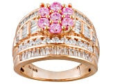 Pink And White Cubic Zirconia 18k Rose Gold Over Silver Ring 5.07ctw (3.86ctw DEW)