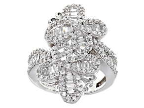 Cubic Zirconia Rhodium Over Silver Butterfly Ring 3.50ctw (3.19ctw DEW)