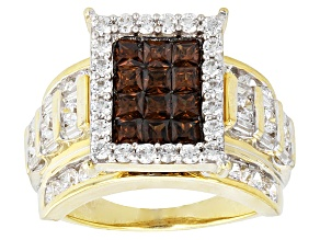 Brown And White Cubic Zirconia 18k Yellow Gold Over Silver Ring 6.37ctw (3.85ctw DEW)
