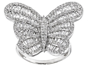 Cubic Zirconia Silver Butterfly Ring 3.11ctw (2.23ctw DEW)