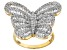 Cubic Zirconia 18k Yellow Gold Over Silver Butterfly Ring 3.11ctw (2.23ctw DEW)
