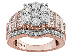 Cubic Zirconia 18k Rose Gold Over Silver Ring 3.55ctw (2.48ctw DEW)