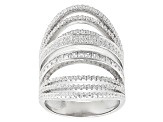 White Cubic Zirconia Rhodium Over Sterling Silver Ring 3.02ctw