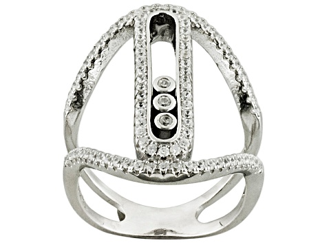 Cubic Zirconia Rhodium Over Sterling Silver Ring .92ctw