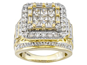 Cubic Zirconia 18k Yellow Gold Over Silver Ring 6.12ctw (3.99ctw DEW)