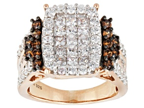 White And Brown Cubic Zirconia 18k Rose Gold Over Silver Ring 4.25ctw (2.48ctw DEW)