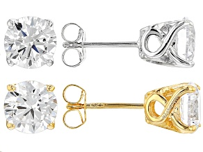 Cubic Zirconia 18k Yellow Gold Over Silver And Rhodium Over Silver Earrings Set 8.68ctw