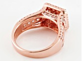 Brown And White Cubic Zirconia 18k Rose Gold Over Silver Ring 3.01ctw