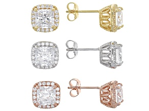 White Cubic Zirconia Rhodium Over Silver And 18k Rose And Yellow Over Silver Earrings 8.16ctw