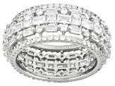 White Cubic Zirconia Rhodium Over Sterling Silver Ring 6.35ctw