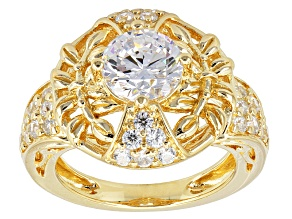 Cubic Zirconia 18k Yellow Gold Over Sterling Silver Ring 3.06ctw