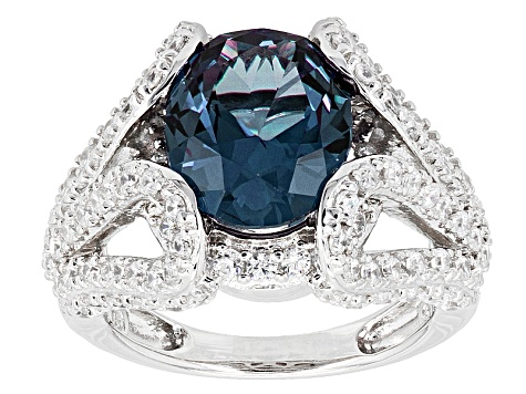Purple Lab Created Sapphire And White Cubic Zirconia Rhodium Over Silver Ring 5.82ctw