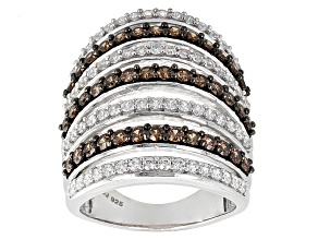 Brown And White Cubic Zircoia Silver Ring 4.01ctw (2.19ctw DEW)