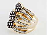 Brown And White Cubic Zirconia 18k Yellow Gold Over Silver Ring 3.65ctw (1.48ctw DEW)