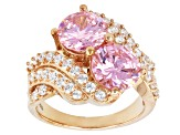 Pink And White 18k Rose Gold Over Silver Ring 8.09ctw (5.01ctw DEW)
