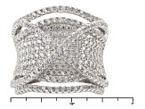 White Cubic Zirconia Rhodium Over Sterling Silver Ring 2.84ctw