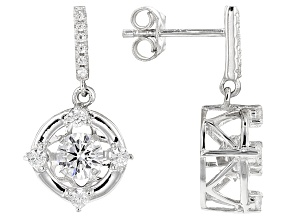 Cubic Zirconia Rhodium Over Sterling Silver Earrings 2.16ctw